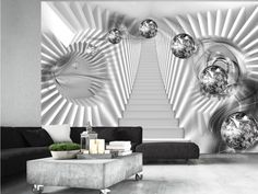 Papier Peint Take The Stairs To Spacetime - Taille : cm Wallpaper For Living Room Uk, 3d Wallpaper Uk, Wallpaper Stairs, Wallpaper Ceiling, Silver Wallpaper, Graffiti Wallpaper, Wallpaper Murals, Stair Walls, Take The Stairs