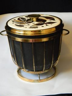 VINTAGE COLLECTIBLE GEORGES BRIARD ICE BUCKET-signed; metal & glass
