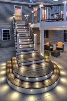 Are you looking for deck lighting ideas to transform your patio or backyard? Discover here how to transform your patio with alluring deck lighting ideas. Patio Design, House Design, Deck Railing Design, Backyard Patio, Patio Decks, Diy Deck, Trex Decking, Outdoor Decking, Patio Stairs