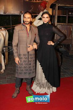 Ranveer Singh & Deepika Padukone at the Trailer launch of Hindi movie 'Bajirao Mastani' at Fun Cinemas in Andheri, Mumbai