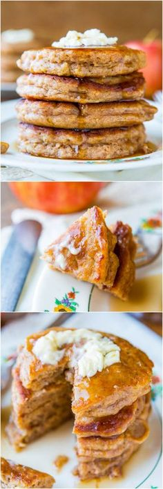 Apple Pie Pancakes with Vanilla Maple Syrup - Just as good as apple pie but healthier & way less work! #TuesdayMorning #HelloFall