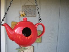 Beautiful Red...Teapot Birdhouse by LovinTheWhimsy on Etsy, $20.00