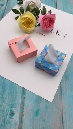 Nvhklpugg boxes gift packaging ideas How To Make Mini Paper Tissue Box,Paper Craft Idea! Cool Paper Crafts, Paper Crafts Origami, Origami Art, Paper Crafting, Diy Paper, Easy Origami, Tissue Box Crafts, Diys With Paper, Tissue Boxes