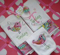 Monogrammed Baby Gift Set - Set of Two Monogrammed Burp Cloths e58ae14cf
