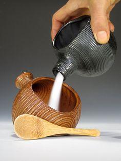 The BEST Damn Handmade Stoneware Salt Pig / Salt Cellar with Bamboo Spoon EVER.. $45.00, via Etsy.
