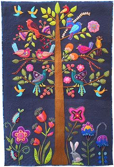 Nocturne is my new wall hanging design featuring felted wool applique with embroidery embellishment. I had a lot of fun designing and st. Motifs Applique Laine, Wool Applique Quilts, Wool Applique Patterns, Wool Quilts, Wool Embroidery, Felt Applique, Embroidery Stitches, Embroidery Store, Flower Embroidery