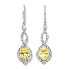Love these.....Park Ave Micro Pave Canary and White Cubic Zirconia Loop Drop Earrings  $179.00
