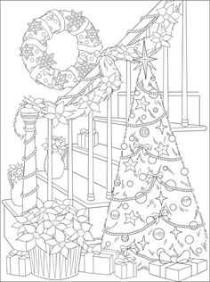 Willkommen bei Dover Publications – The coloring book - Malvorlagen Mandala Doodle Coloring, Mandala Coloring, Free Coloring, Christmas Tree Coloring Page, Christmas Coloring Sheets, Illustration Noel, Illustrations, Christmas Embroidery, Coloring Book Pages