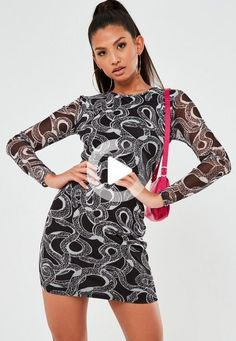 black snake print mesh mini dress featuring a crew neckline and body underlining. Red And Black Snake, Girl Thigh Tattoos, Maternity Shops, Mini Vestidos, Going Out Dresses, Latest Dress, Snake Print, Missguided, Street Style Women