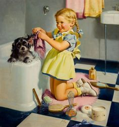 BATH TIME PUPPY Little girl bathes her crocker spaniel puppy dog in a vintage retro bathroom, art print apx (See first Image) Perfect for Vintage Abbildungen, Vintage Cards, Vintage Prints, Vintage Room, Vintage Music, Vintage Ideas, Posters Vintage, Retro Poster, Vintage Pictures