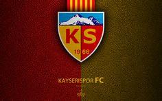 Download wallpapers Kayserispor FC, 4k, Turkish football club, leather texture, emblem, logo, Super Lig, Kayseri, Turkey, football, Turkish Football Championship