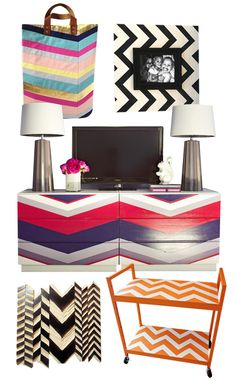 I'm so into chevrons right now...love them. This site has tons of DIY projects. Easy and cheap DIY project that give a lot for the effort.
