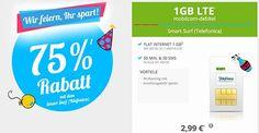 1GB LTE o2 Smart Surf für 2,99€ http://www.simdealz.de/o2/mobilcom-debitel-o2-smart-surf/