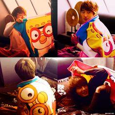 Jung Il Woo (정일우) in Flower Boy Ramyun Shop with his Pororo blanket. ^.^~