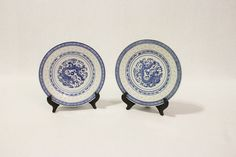 Set of 2 Vintage Chinese Plates, Blue and White Porcelain, Rice Pattern, Hand Painted Chinoiserie $18