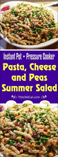 Crispy bacon, sharp cheddar cheese and homemade dressing make for a fresh and summery pasta salad studded with green peas. via @thisoldgalcooks