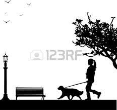 dog walking silhouette - Google Search