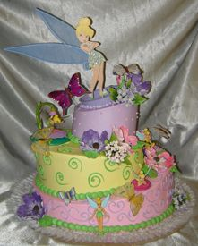 """""""Twinkle with Tinkerbell"""" Three Tier Buttercream Topsy Turvy Cake"""