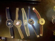 repurposed zipper flower and vintage button bracelets