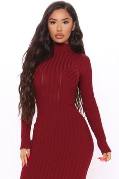Rompers Women, Jumpsuits For Women, Fall Fashion Outfits, Fashion Dresses, Long Sleeve Bandage Dress, Burgundy Midi Dress, Date Night Dresses, Dress Outfits, Nova
