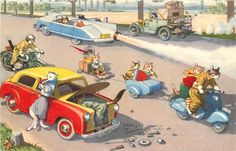 Vintage PC Mainzer Hartung PC 4751 Dressed Cats Motorcycle Cars Scooter on Road | eBay