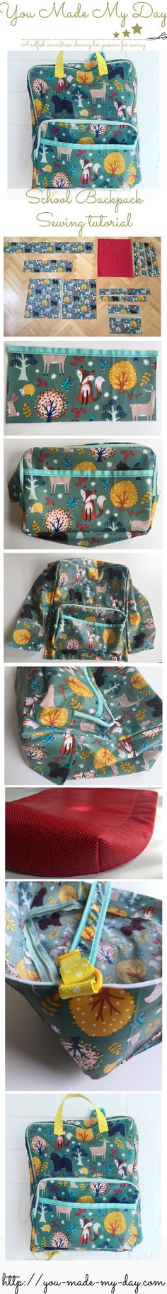 School backpack - Sewing tutorial and free pattern. For more sewing patterns, sewing tips and sewing tutorials visit http://you-made-my-day.com/