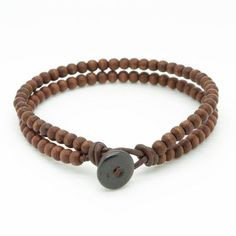 ◊ Mens stylish double strand beaded bracelet handmade with 4mm brown wooden beads and brown leather cord.  ◊ The bracelet features a bone bead and loop  #jewelryinspo #jewelrygram #cbloggers #jewelrymaking