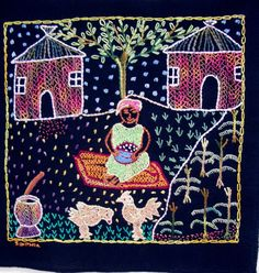 x hand embroidered in South Africa Embroidery Motifs, Types Of Embroidery, Indian Embroidery, Vintage Embroidery, African Quilts, African Textiles, Fabric Artwork, Embroidered Quilts, Africa Art