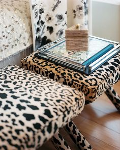 Decor Photo - A pair of leopard-print benches