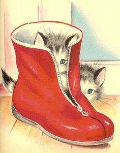 kittens in rubber boot - so reminds me of illustrations from my childhood Vintage Postcards, Vintage Images, Vintage Children's Books, Vintage Christmas Cards, Christmas Cats, I Love Cats, Cute Cats, Image Chat, Cat Cards