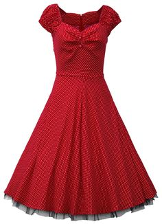 Red Polka Dot Vintage Dress with Lace Trim