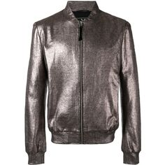 Unconditional foil bomber jacket (650 AUD) ❤ liked on Polyvore featuring men's fashion, men's clothing, men's outerwear, men's jackets, grey, mens fitted jacket, mens grey bomber jacket, mens gray leather jacket, mens metallic jacket and mens grey jacket