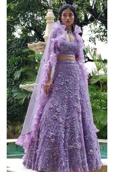 Lilac hand embroidered lehenga set with an organza ruffle dupatta Pakistani Lehenga, Pakistani Outfits, Indian Outfits, Sabyasachi, Saree, Indian Wedding Gowns, Desi Wedding Dresses, Beautiful Prom Dresses, Dress Indian Style