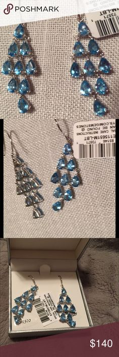 💕BEAUTIFUL💕NWT Blue Topaz Chandelier Earrings😍 Brand New with tag attached and in original box and packaging, this Beautiful Pair of Blue Topaz Chandelier Earrings. Set in Sterling Silver. Chandelier portion is approximately 1.5 inches in length and at 3-stone (widest part) portion of Chandelier is 5/8 inch. So pretty😍. My photography 📸 skills do not do these justice!! Two pairs available- see second listing. Price firm. No bundling. Feel free to ask questions! Macys Fine Jewelry…