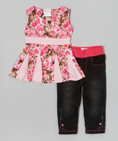 Another great find on #zulily! Pink Roses Godet Tunic & Denim Capri Pants - Toddler & Girls by Chit-Chat #zulilyfinds