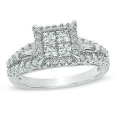 1-1/4 CT. T.W. Princess-Cut Quad Diamond Engagement Ring in 14K White Gold