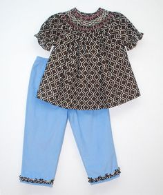 Look at this Smocked Giraffe Brown Bishop Blouse & Blue Pants - Infant, Toddler & Girls on #zulily today!