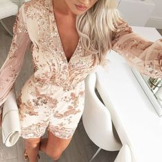 $59.99 Gold Sequined Lace V-Neck With Belt Jumpsuits