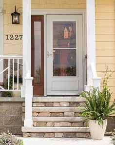 The wide selection & options for storm doors can be overwhelming, so we're going to break it down into the basics: full view, mid-view, and high view doors. Porch Doors, Back Doors, Entry Doors, Farmhouse Front, French Farmhouse, Farmhouse Style, Storm Doors With Screens, Front Door With Screen, Painted Front Doors