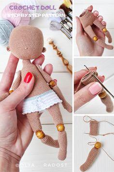 Plushie Patterns, Crochet Doll Pattern, Crochet Patterns Amigurumi, Amigurumi Doll, Crochet Dolls, Crochet Doll Tutorial, Diy Crochet, Crochet Crafts, Crochet Projects