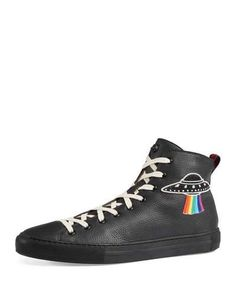 41661acbb72 Gucci Men s Major Leather High-Top Sneakers with Appliqués Gucci Sneakers