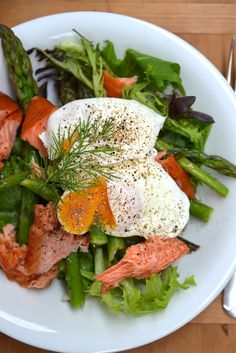 Salmon and Asparagus Salad with Poached Eggs From The Kitchen