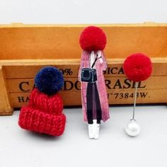 Cute set of 3 pins: girl wearing large winter cap, cap with pompom and pompom pin.Add unique element to your winter outfit! Body Jewelry, Jewellery, Thanksgiving Gifts, Winter Trends, Girls Wear, Animal Design, Necklaces, Bracelets, Bracelet Patterns