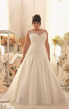 A-line Cap Sleeve Tulle Designer Gorgeous Wedding Gown ,Plus Size Bridal Dress with Beads and Lace Appliques adorn the Bodice US $152.00