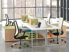 Hon Benching System, above, is one example of a new workstation style that deviates from the traditional office cubicle system. (Photo courtesy of Business Interiors of Idaho)