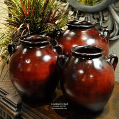 Classic Tuscan Vases in Cranberry Red - NEW from Accents of Salado.