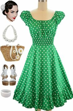 Brand new in store at Le Bomb Shop! Kelly Green polka dot peasant dress.. Only $34 + FREE U.S. Shipping! Find it here: http://lebombshop.net/search?type=product&q=peasant+dot&search-button.x=0&search-button.y=0