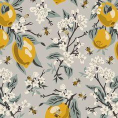 Tropical Fabric, Bee Art, Blue Leaves, Surface Pattern Design, Custom Fabric, Spoonflower, Color Change, Blue Grey, Design Art