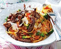Mafianudeln (Spaghetti mit Steakstreifen in Tomaten-Wodka-Soße) Rezept