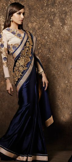 154933: Blue color family Saree with matching unstitched blouse.